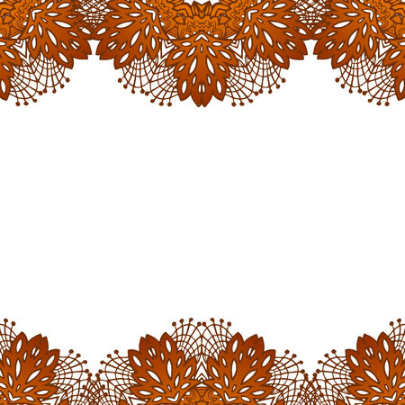 coffee leaf: chocolate doodle flower lace pattern with abstract elements