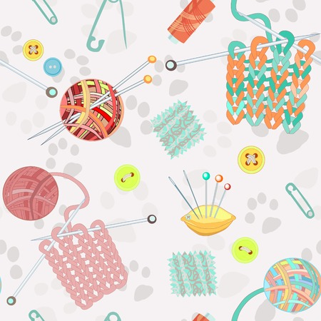 handicraft: Retro seamless pattern with hand drawn knitting accessories. Vector illustration