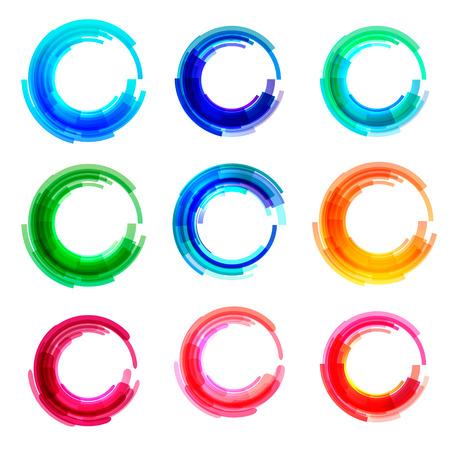 �cones do neg�cio c�rculo definido .. vector modelo de design de logotipo para, estilo Media, Tecnologia Corporativa.