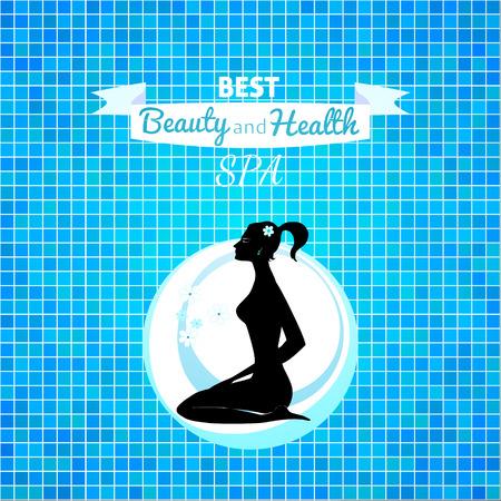 backkground: Woman relax silhouette in blue spa backkground design Illustration