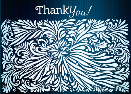 Thank You typographic card design with doodle floral ornament Illustration