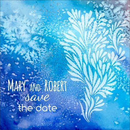 wet leaf: Wedding invitation on blue watercolor background with doodle floral ornament Illustration