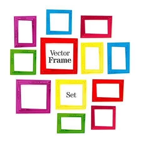 wooden color: Set of color wooden frames on white background. Vector illustration