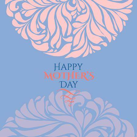 Su marco del día de adorno especial en Pantone 2016 colores azul y la serenidad año cuarzo rosa. plantilla de tarjeta de vacaciones. Vector Ilustración de vector