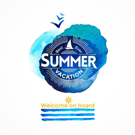 Summer sea watercolor background with yacht and round blue texture and stripes like watch Vector Illustration