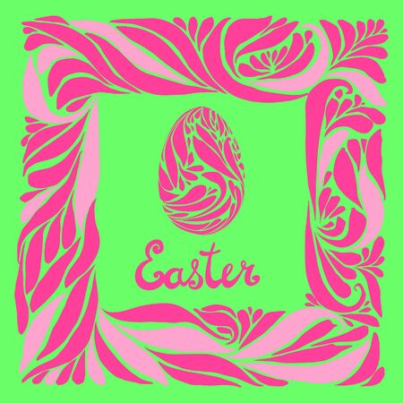 roze: Vector easter card with ornamental egg and a frame. Green, roze colors. Hand lettering