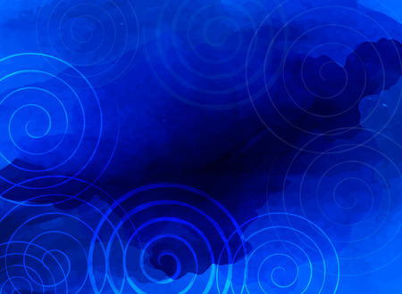 blue stripes: Abstract blue background business presentation with hand drawn spirals and deep beautiful blue watercolor texture