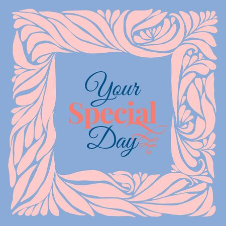 pantone: Your special day ornament frame in pantone 2016 year colors serenity blue and rose quartz. Holidays card template. Vector