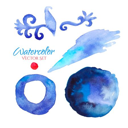 blue circle: Colorful watercolor set of vector banners. Background, icon. logo, design template for Corporate, Media, Technology style.