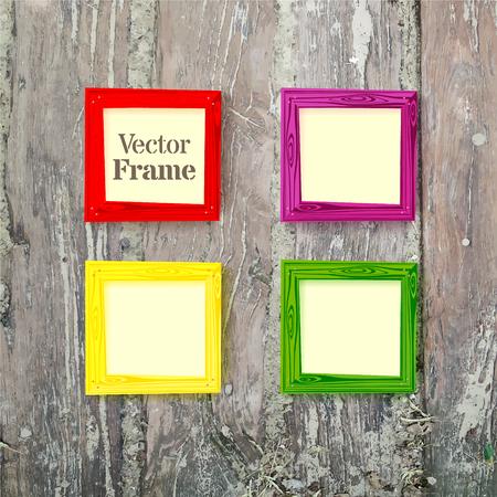 wooden color: Set of color wooden frames on wood desk background. Vector illustration