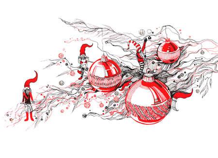 kabouters: nieuwe jaar boom en kabouters