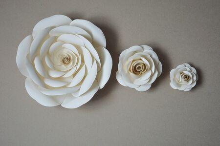 Papieren bloemen voor wand- en interieurdecoratie. De bloemen zijn handgemaakt.