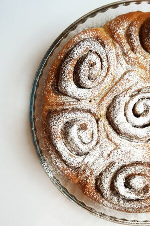 homemade cake. cake with cinnamon and powdered sugar. delicious dessert.