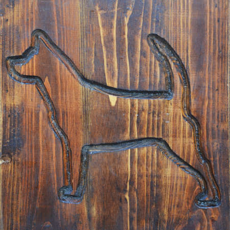 background for the design. dog on a wooden Board.