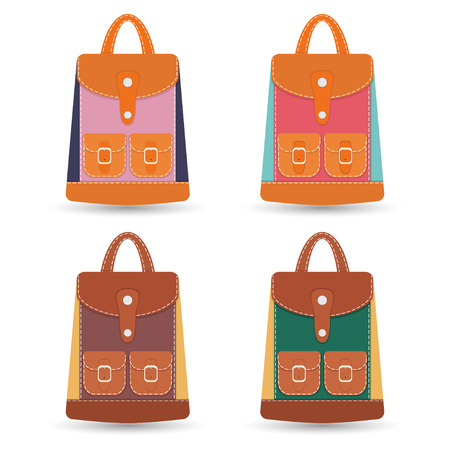 haversack: Collection of stylish colorful leather backpacks with pockets and white stitching. Vector illustration.