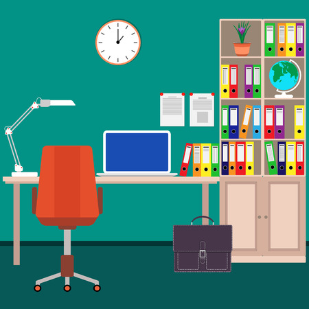Le lieu de travail à domicile de l'homme d'affaires Bureau, ordinateur portable, classeur, lampe de bureau, chaise, horloge murale, globe et portefeuille Illustration vectorielle dans un style plat Vecteurs