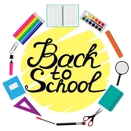 Back to school design. Set of School supplies with Back to school hand drawn lettering. Line, polygon, scissor, notebook, pen, pencil, marker, eraser, brush, clip Vector illustration Illustration