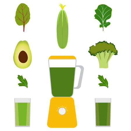 Blender, vegetables and vegetable juices. Avocado, cucumber, broccoli, herbs. Glasses with green juice Vector illustration Illustration