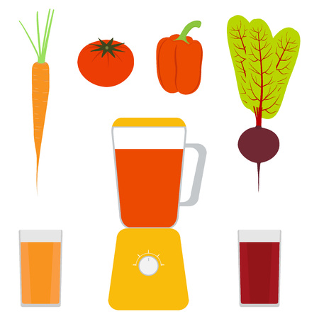 Blender, vegetables and vegetable juices. Sweet pepper, tomato, carrots, beets and glasses with juice Vector illustration