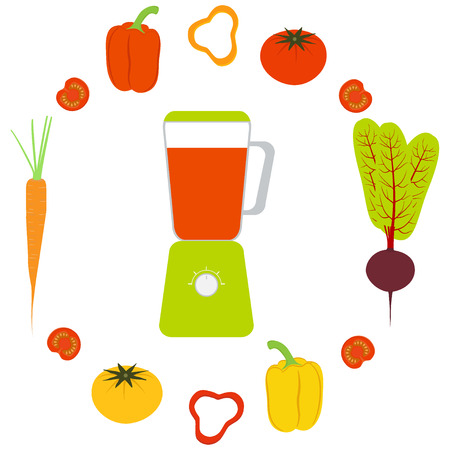 Blender, vegetables and vegetable juices. Sweet pepper, tomato, carrots, beets.