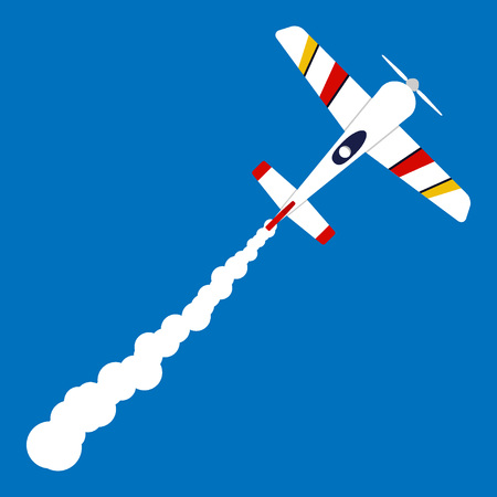 Little private sport plane in the sky and a white trail behind it. Cartoon airplane shoots up into the sky. Vector illustration