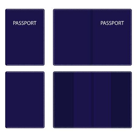 Donkerblauw lederen paspoorthoesje, open en gesloten, met witte stiksels langs de contour. Vector illustratie Vector Illustratie