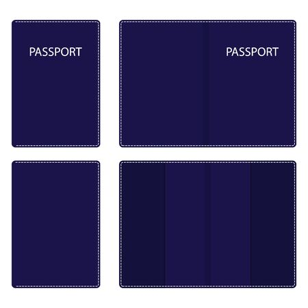 Dark blue leather passport cover, open and closed, with white stitching along the contour. Vector illustration