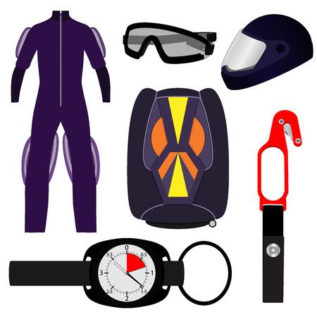 Equipment for skydiving, set. Rig, Altimeter, Hook knife, helmet jumpsuit goggles Vector illustration isolated