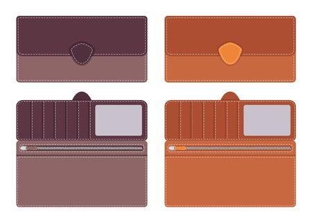 contrasting: Women s Leather purse in open and closed form with pockets for documents and credit cards, with contrasting lines along the contour on the clasp vector illustration in flat style. Illustration