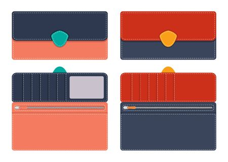Women s Leather purse in open and closed form with pockets for documents and credit cards, with contrasting lines along the contour on the clasp. Vector illustration in flat style..