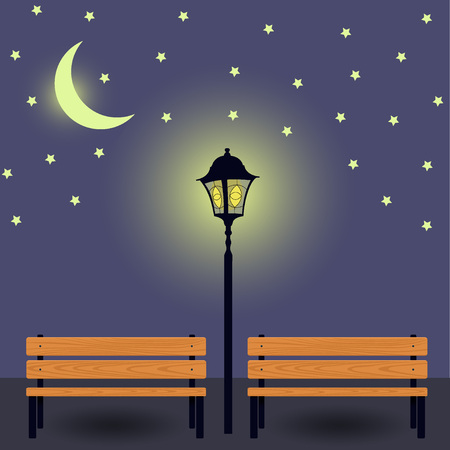 Two Benches Illuminated By Street Lamp and the moon. Benches in light. Night urban landscape. Vector Illustration..