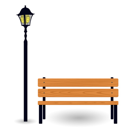 Bench and streetlight isolated on white. Vector illustration Illustration