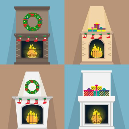 Set of fireplaces, with Christmas attributes socks, gifts, wreaths. Fireplaces of various shapes with the flame. Xmas Vector illustration