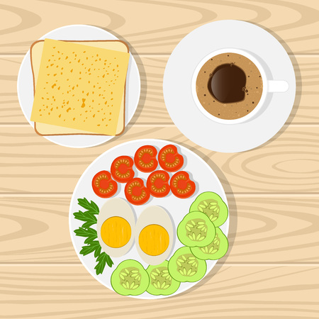 Coffee, toast with cheese, eggs, tomatoes, cucumbers, greens . Breakfast on realistic wooden surface vector illustration Illustration