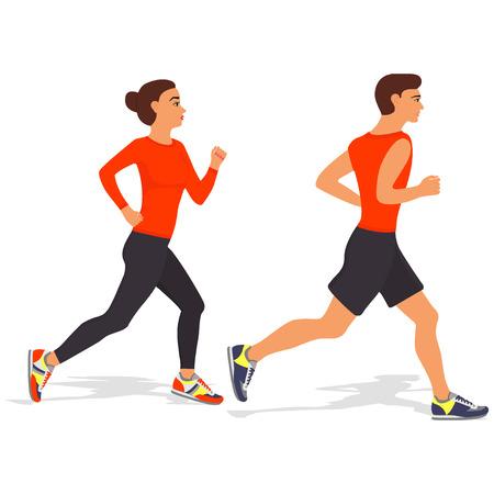 Laufender Mann und Frau. Rüttelnde Paare der Karikatur, getrennt auf Weiß. Vektor-illustration