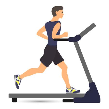 Man running on treadmill. Vector illustration in flat style