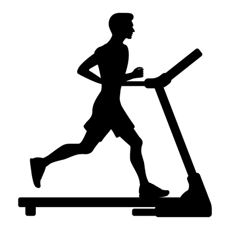 Silhouette of young man running on treadmill. Vector illustration in flat style