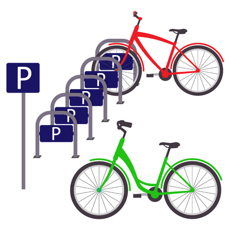 Fietsparkeren met twee fietsen, eenvoudige vlakke illustratie. Vector