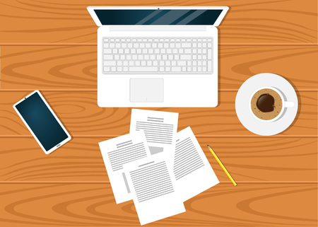 Modern workplace on on beautiful wooden table surface, top view. Laptop, documents, pencil, smartphone, cup of coffee Illustration