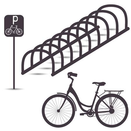 駐輪場、灰色の色合いでシンプルなグラフィック フラット イラスト