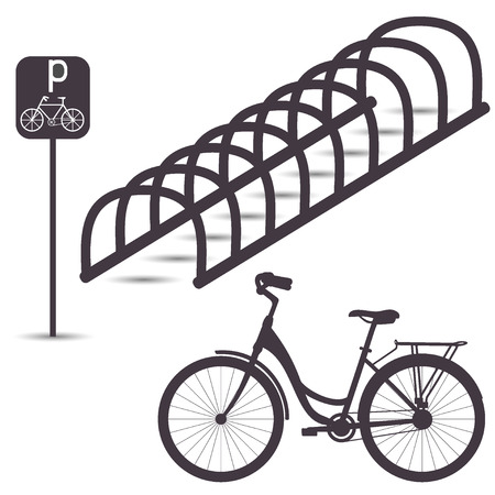 Bicycle Parking, simple graphic flat illustration in shades of grey
