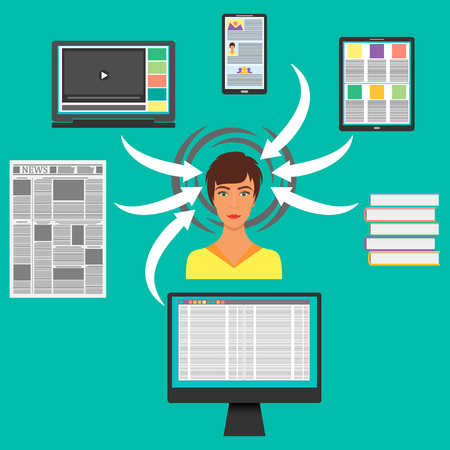 Young woman surrounded by gadgets, books and Newspapers. Computer, smartphone, tablet, laptop and hands them to the woman s head. Information overload concept. Vector
