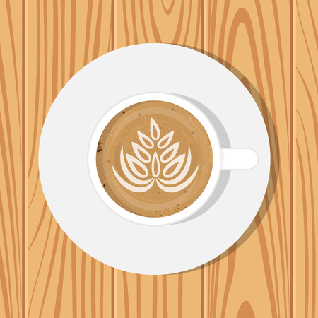 Cup of Coffee and saucer, top view, on realistic wooden surface. Vector illustration. Cappuccino with drawing on foam surface