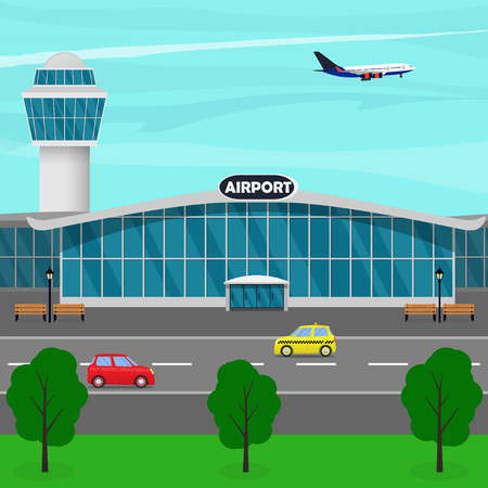 Airport terminal building, control tower, plane taking off, taxi drives up to the entrance of the airport building. Vector flat illustration.