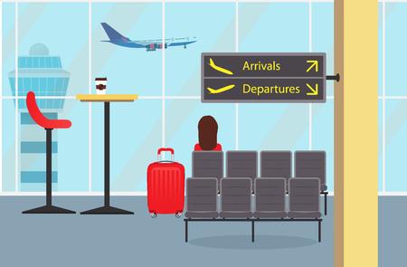 Wachtkamer op de luchthaven, een vrouw passagier met een koffer, informatieborden. Vliegtuig opstijgt en verkeerstoren buiten het raam. Leuke vectorillustratie.