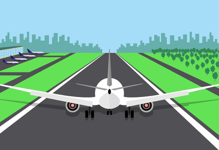 Passenger plane at the beginning of the runway, preparing for take off. Vector illustration of an airplane, rear view, on a airstrip and with the airport building and the city on background