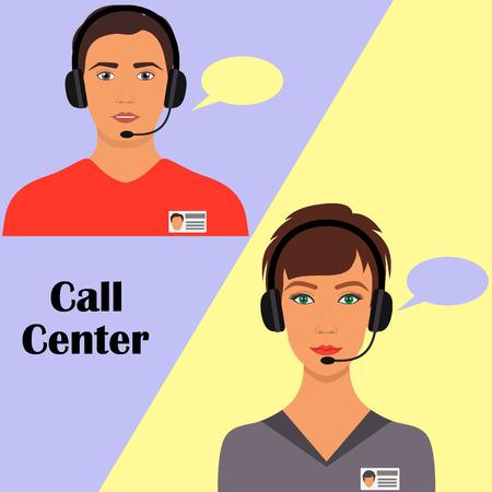 Hombre y mujer en auriculares con micrófono y placa. Operadores de la oficina del centro de llamadas en el trabajo. Vector ilustración plana.