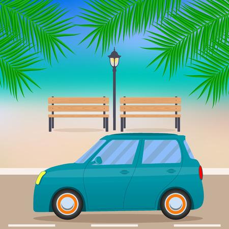 ビーチロード、ヤシの木、ベンチ、街灯の枝にかわいい小さな車。ベクトルの図。