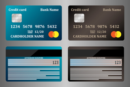 Realistic credit cards, view from both sides, set. Vector illustration, isolated