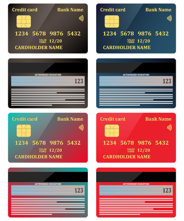 Realistic credit cards, view from both sides, set. Vector illustration, isolated.